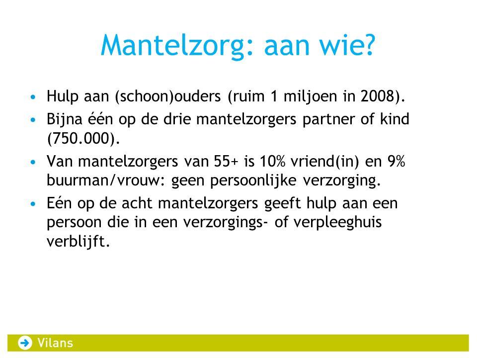 Mantelzorg: aan wie? Hulp aan (schoon)ouders (ruim 1 miljoen in 2008). Bijna één op de drie mantelzorgers partner of kind (750.000). Van mantelzorgers