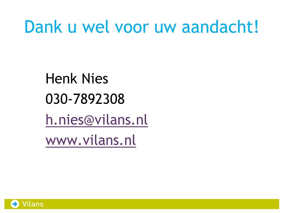 Dank u wel voor uw aandacht! Henk Nies 030-7892308 h.nies@vilans.nl www.vilans.nl