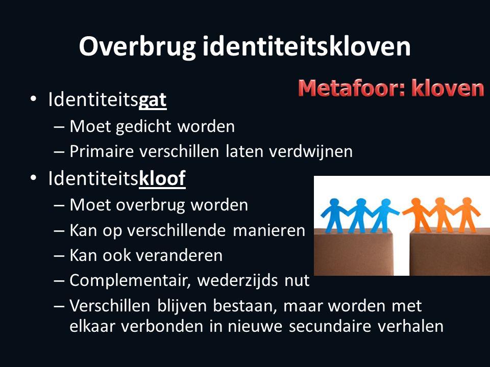Overbrug identiteitskloven Identiteitsgat – Moet gedicht worden – Primaire verschillen laten verdwijnen Identiteitskloof – Moet overbrug worden – Kan
