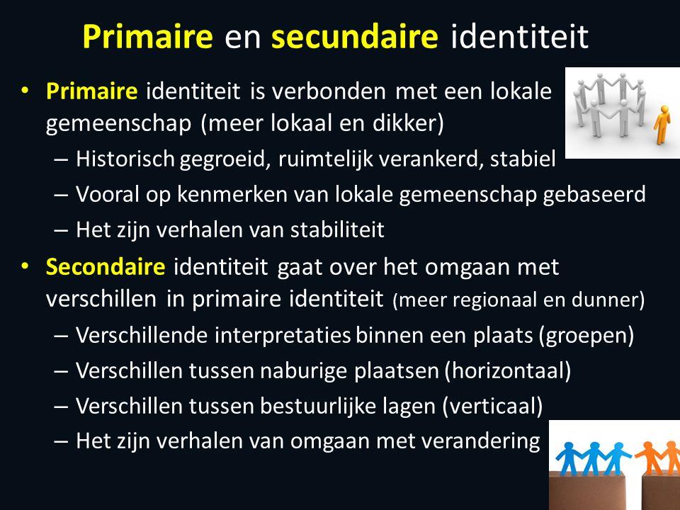 Primaire en secundaire identiteit Primaire identiteit is verbonden met een lokale gemeenschap ( meer lokaal en dikker) – Historisch gegroeid, ruimteli