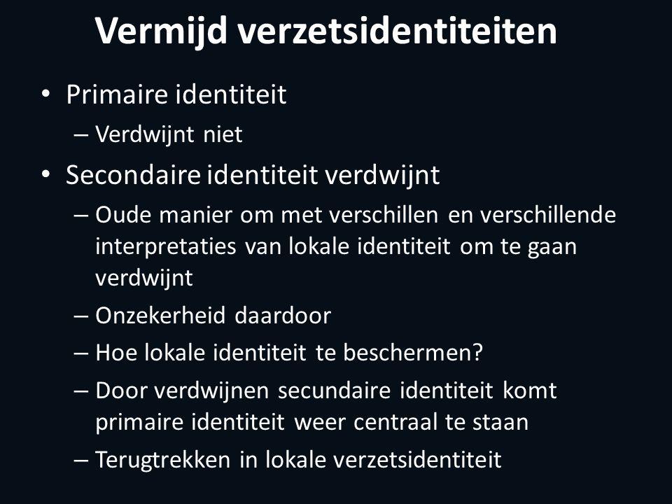 Vermijd verzetsidentiteiten Primaire identiteit – Verdwijnt niet Secondaire identiteit verdwijnt – Oude manier om met verschillen en verschillende interpretaties van lokale identiteit om te gaan verdwijnt – Onzekerheid daardoor – Hoe lokale identiteit te beschermen.