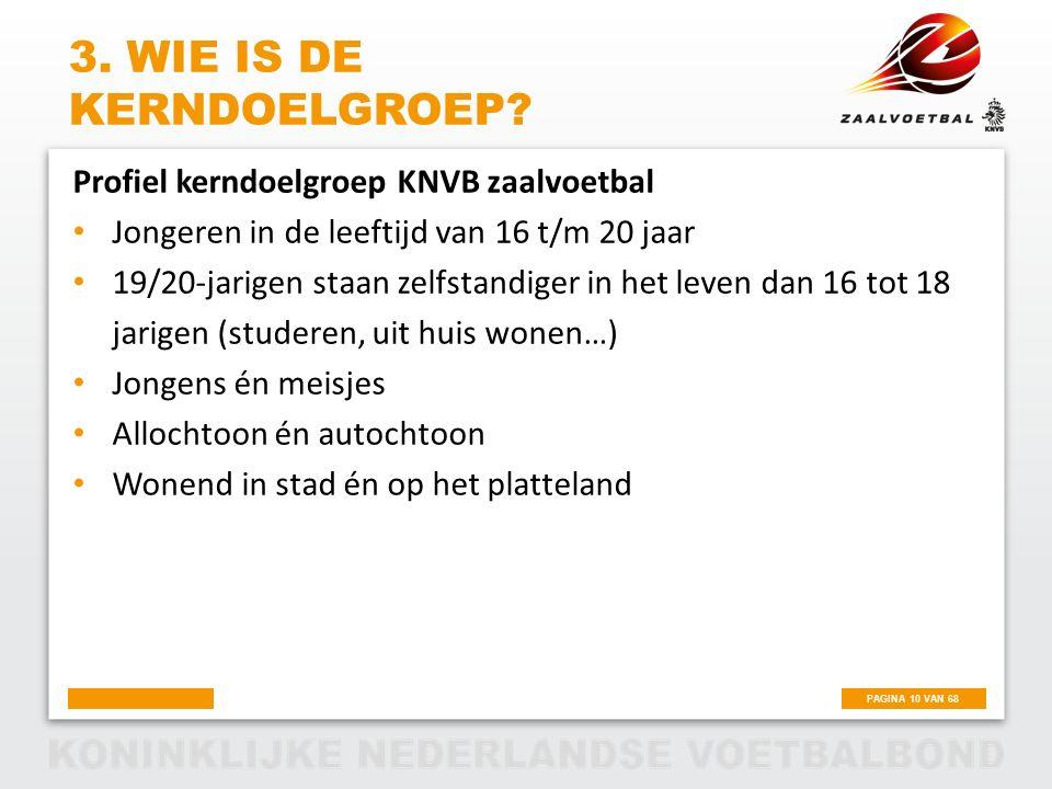 PAGINA 10 VAN 68 3. WIE IS DE KERNDOELGROEP? Profiel kerndoelgroep KNVB zaalvoetbal Jongeren in de leeftijd van 16 t/m 20 jaar 19/20-jarigen staan zel