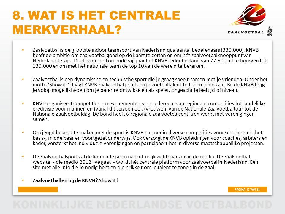 PAGINA 15 VAN 68 8. WAT IS HET CENTRALE MERKVERHAAL? Zaalvoetbal is de grootste indoor teamsport van Nederland qua aantal beoefenaars (330.000). KNVB