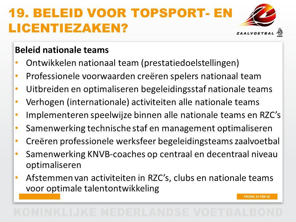 PAGINA 45 VAN 68 Beleid nationale teams Ontwikkelen nationaal team (prestatiedoelstellingen) Professionele voorwaarden creëren spelers nationaal team