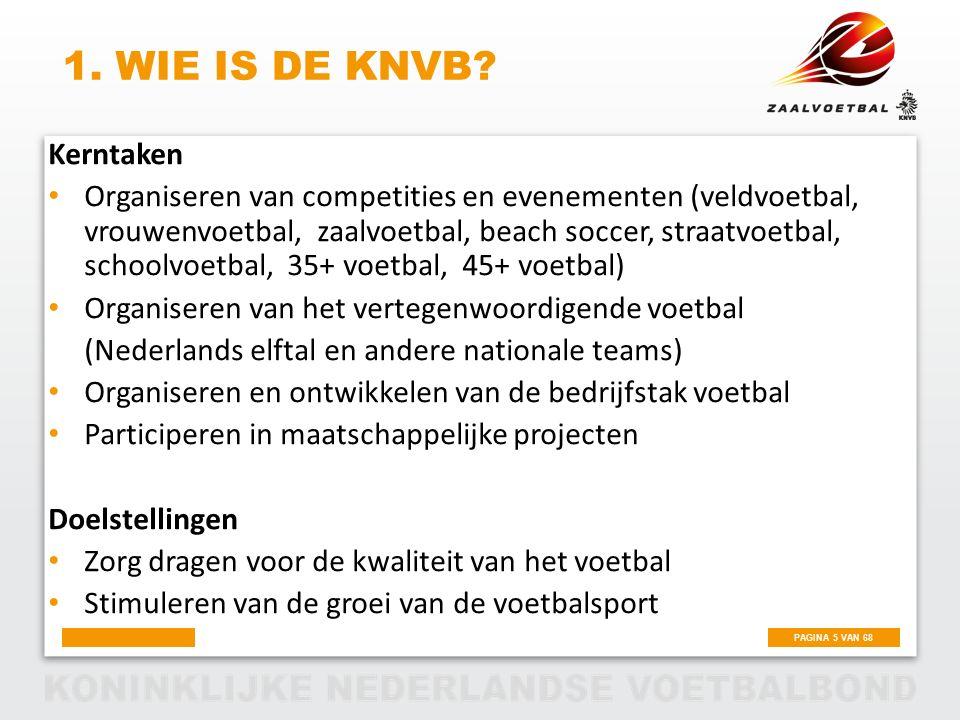 PAGINA 5 VAN 68 1. WIE IS DE KNVB? Kerntaken Organiseren van competities en evenementen (veldvoetbal, vrouwenvoetbal, zaalvoetbal, beach soccer, straa