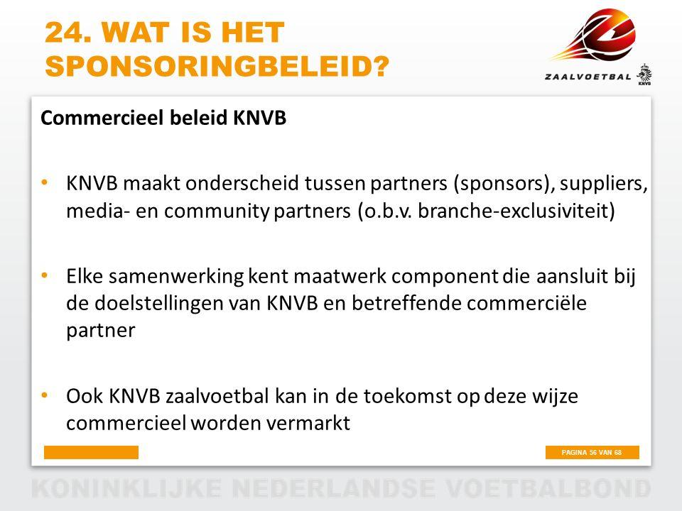 PAGINA 56 VAN 68 24. WAT IS HET SPONSORINGBELEID? Commercieel beleid KNVB KNVB maakt onderscheid tussen partners (sponsors), suppliers, media- en comm