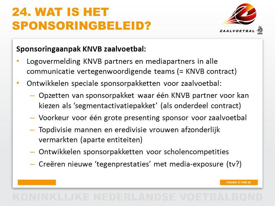 PAGINA 57 VAN 68 24. WAT IS HET SPONSORINGBELEID? Sponsoringaanpak KNVB zaalvoetbal: Logovermelding KNVB partners en mediapartners in alle communicati