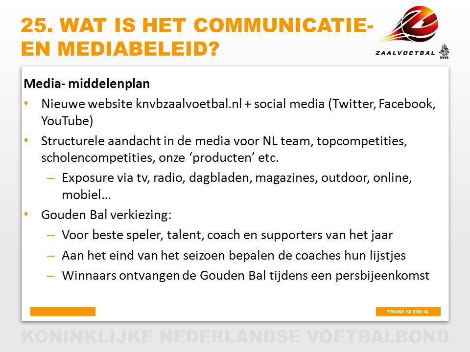 PAGINA 60 VAN 68 25. WAT IS HET COMMUNICATIE- EN MEDIABELEID? Media- middelenplan Nieuwe website knvbzaalvoetbal.nl + social media (Twitter, Facebook,