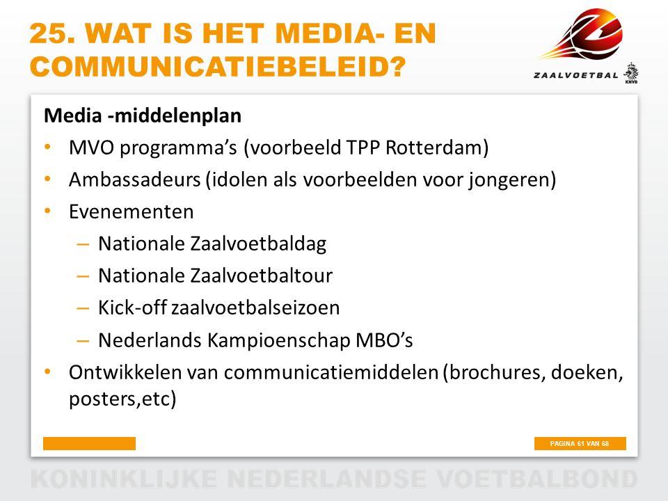 PAGINA 61 VAN 68 25. WAT IS HET MEDIA- EN COMMUNICATIEBELEID? Media -middelenplan MVO programma's (voorbeeld TPP Rotterdam) Ambassadeurs (idolen als v