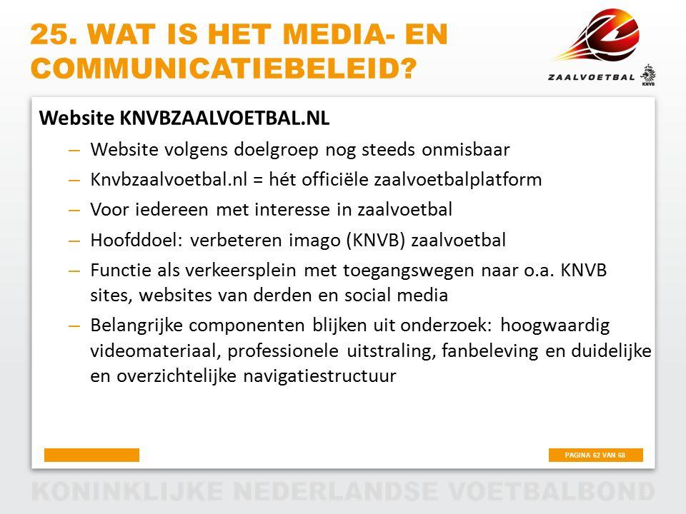 PAGINA 62 VAN 68 25. WAT IS HET MEDIA- EN COMMUNICATIEBELEID? Website KNVBZAALVOETBAL.NL – Website volgens doelgroep nog steeds onmisbaar – Knvbzaalvo