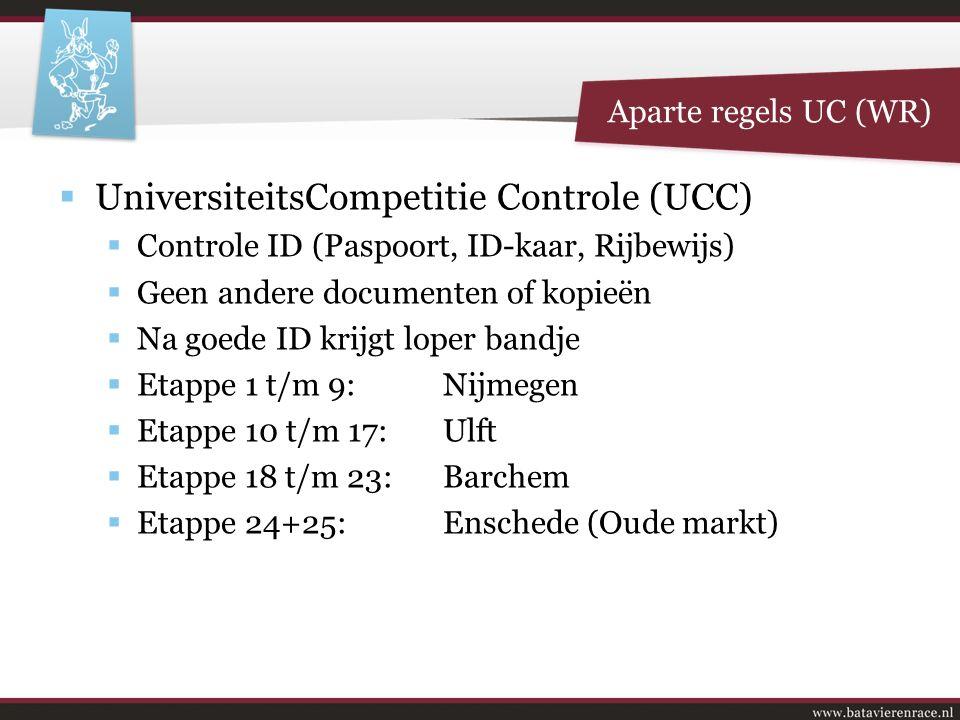  UniversiteitsCompetitie Controle (UCC)  Controle ID (Paspoort, ID-kaar, Rijbewijs)  Geen andere documenten of kopieën  Na goede ID krijgt loper b