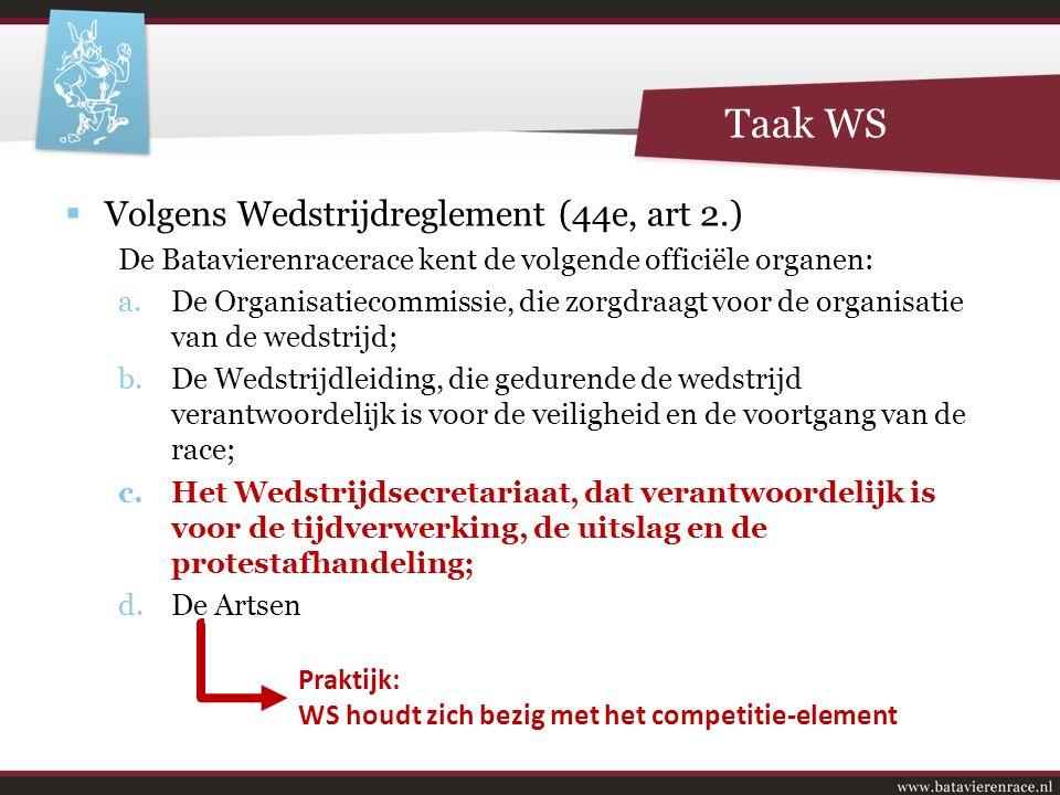 Taak WS  Volgens Wedstrijdreglement (44e, art 2.) De Batavierenracerace kent de volgende officiële organen: a.De Organisatiecommissie, die zorgdraagt