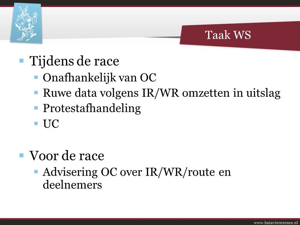  Tijdens de race  Onafhankelijk van OC  Ruwe data volgens IR/WR omzetten in uitslag  Protestafhandeling  UC  Voor de race  Advisering OC over IR/WR/route en deelnemers Taak WS