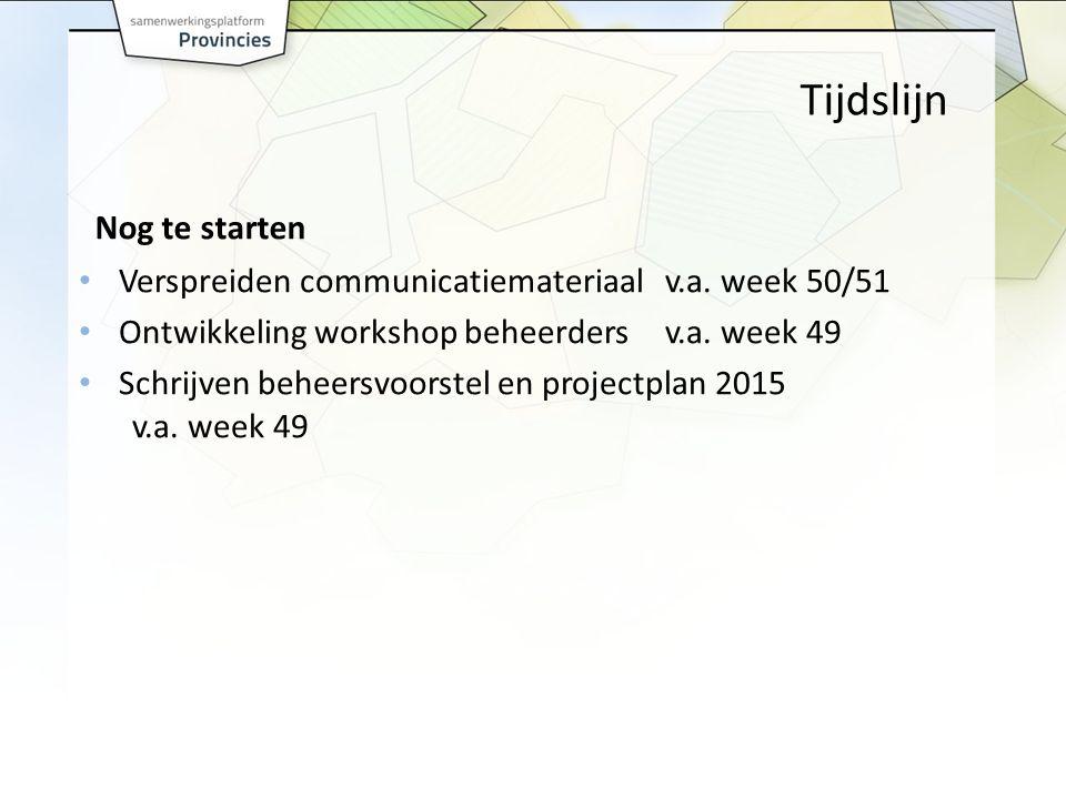 Tijdslijn Nog te starten Verspreiden communicatiemateriaalv.a.