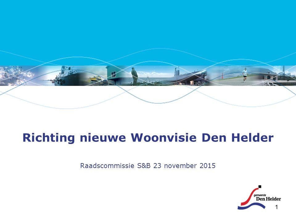 1 Richting nieuwe Woonvisie Den Helder Raadscommissie S&B 23 november 2015