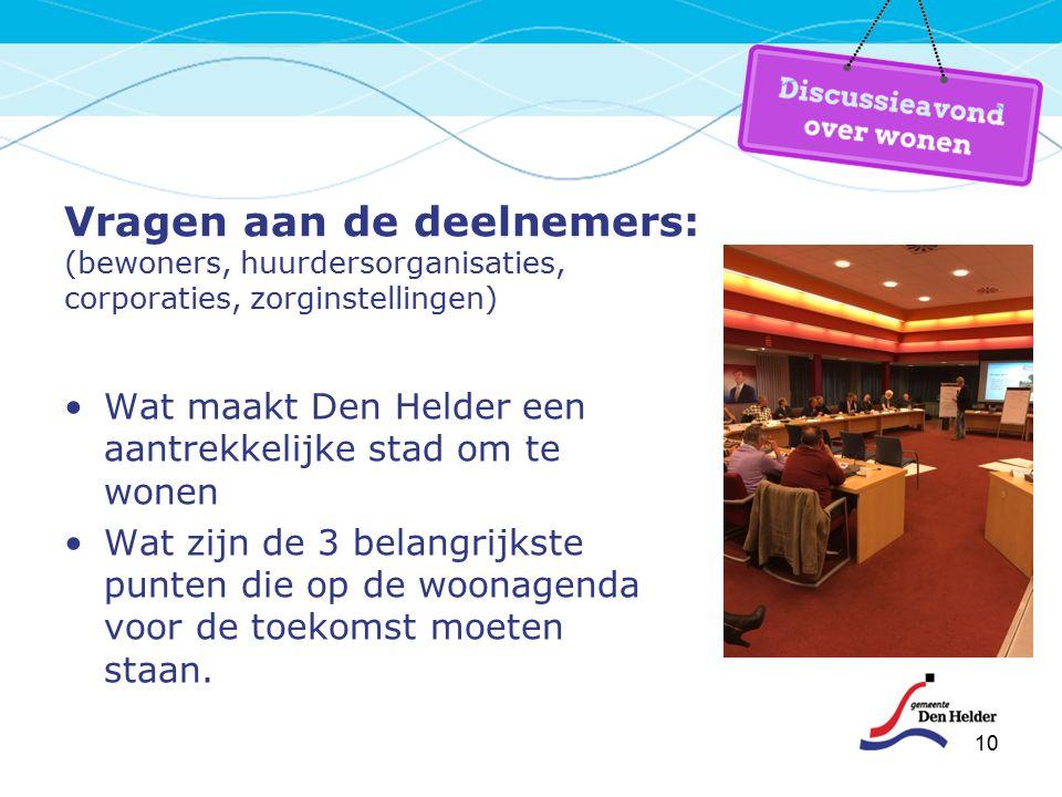 10 Vragen aan de deelnemers: (bewoners, huurdersorganisaties, corporaties, zorginstellingen) Wat maakt Den Helder een aantrekkelijke stad om te wonen Wat zijn de 3 belangrijkste punten die op de woonagenda voor de toekomst moeten staan.