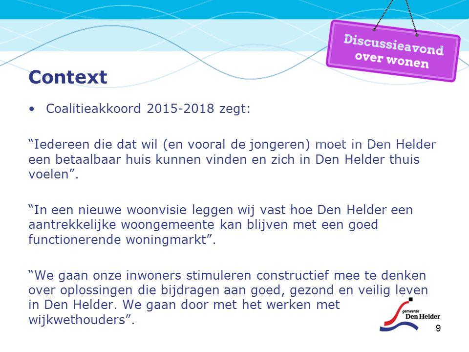 9 Context Coalitieakkoord 2015-2018 zegt: Iedereen die dat wil (en vooral de jongeren) moet in Den Helder een betaalbaar huis kunnen vinden en zich in Den Helder thuis voelen .