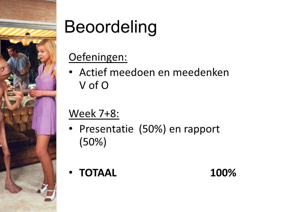 Beoordeling Oefeningen: Actief meedoen en meedenken V of O Week 7+8: Presentatie (50%) en rapport (50%) TOTAAL100%