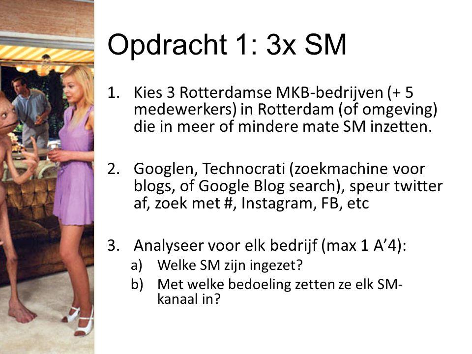 Opdracht 1: 3x SM 1.Kies 3 Rotterdamse MKB-bedrijven (+ 5 medewerkers) in Rotterdam (of omgeving) die in meer of mindere mate SM inzetten. 2.Googlen,