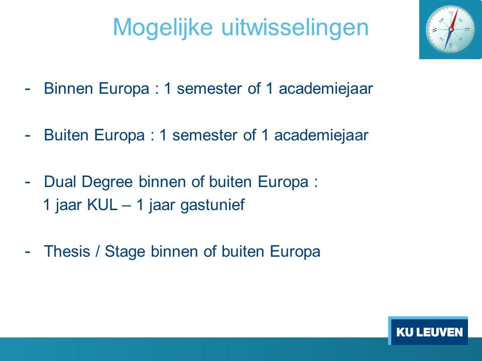 Mogelijke uitwisselingen - Binnen Europa : 1 semester of 1 academiejaar - Buiten Europa : 1 semester of 1 academiejaar - Dual Degree binnen of buiten