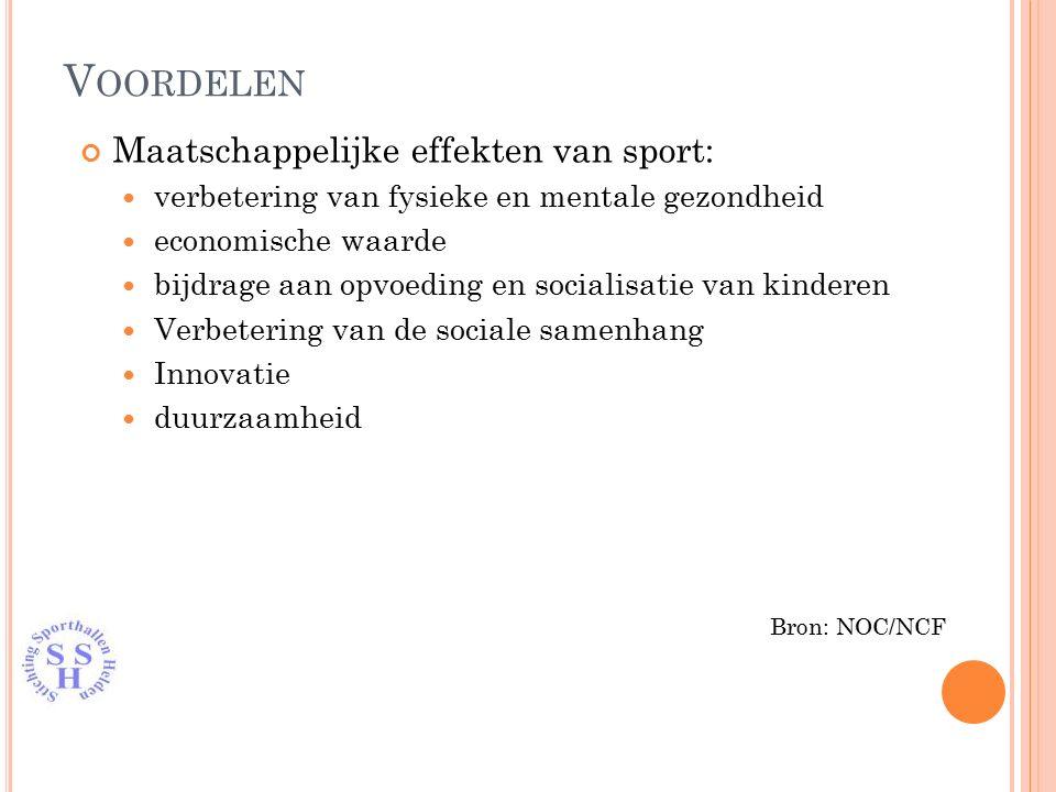 Maatschappelijke effekten van sport: verbetering van fysieke en mentale gezondheid economische waarde bijdrage aan opvoeding en socialisatie van kinderen Verbetering van de sociale samenhang Innovatie duurzaamheid Bron: NOC/NCF V OORDELEN