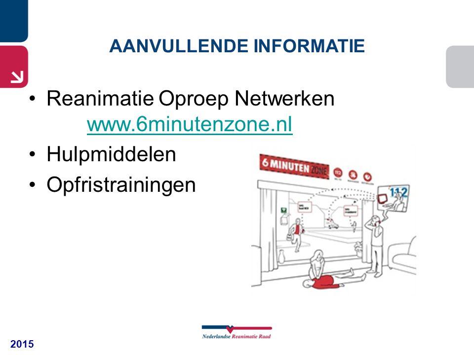 2015 AANVULLENDE INFORMATIE Reanimatie Oproep Netwerken www.6minutenzone.nl Hulpmiddelen Opfristrainingen