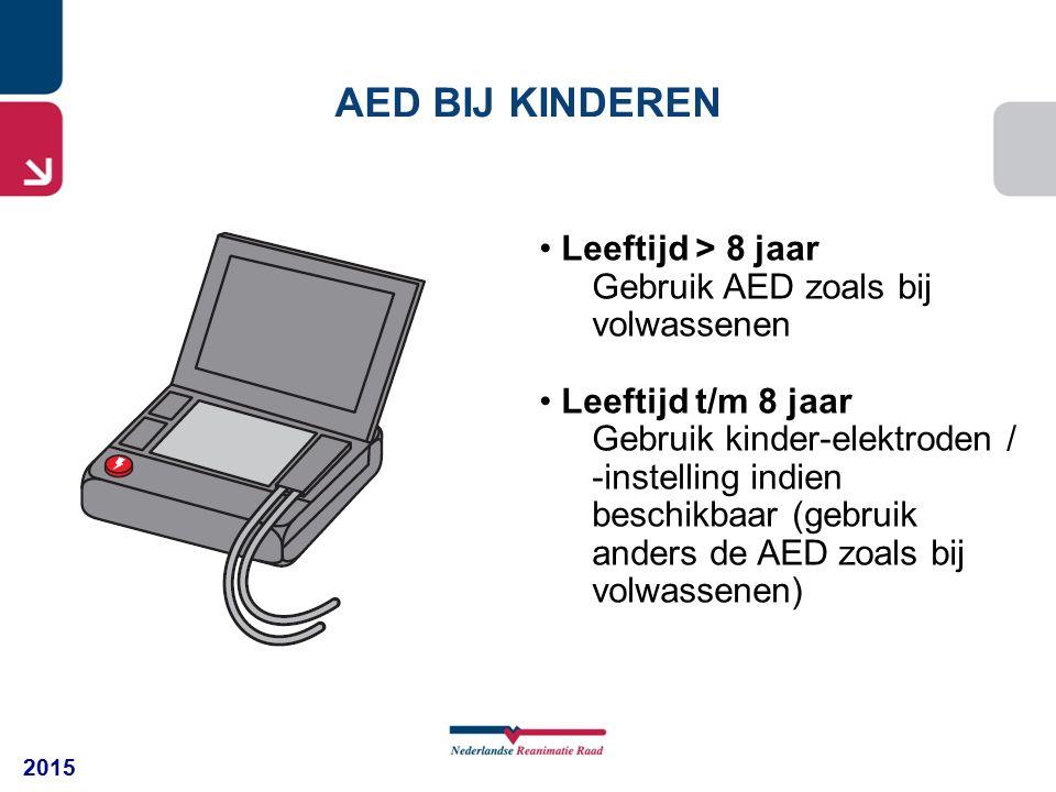 2015 Leeftijd > 8 jaar Gebruik AED zoals bij volwassenen Leeftijd t/m 8 jaar Gebruik kinder-elektroden / -instelling indien beschikbaar (gebruik anders de AED zoals bij volwassenen) AED BIJ KINDEREN