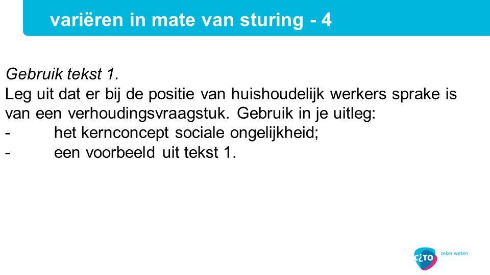 Gebruik tekst 1. Leg uit dat er bij de positie van huishoudelijk werkers sprake is van een verhoudingsvraagstuk. Gebruik in je uitleg: -het kernconcep