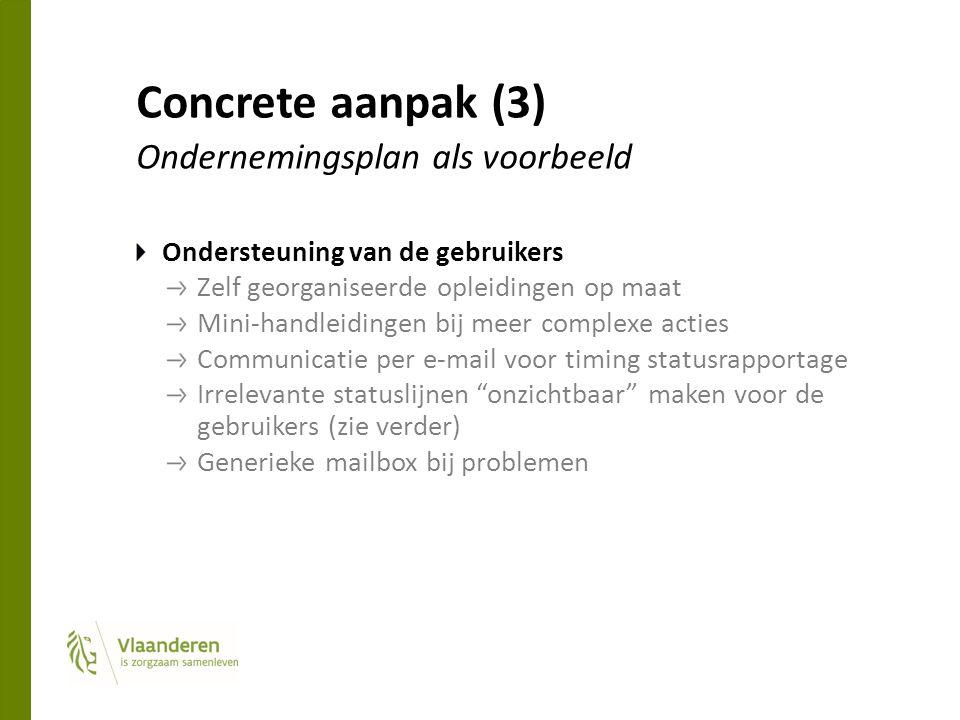 Concrete aanpak (3) Ondernemingsplan als voorbeeld Ondersteuning van de gebruikers Zelf georganiseerde opleidingen op maat Mini-handleidingen bij meer complexe acties Communicatie per e-mail voor timing statusrapportage Irrelevante statuslijnen onzichtbaar maken voor de gebruikers (zie verder) Generieke mailbox bij problemen
