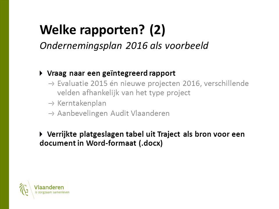 Welke rapporten? (2) Ondernemingsplan 2016 als voorbeeld Vraag naar een geïntegreerd rapport Evaluatie 2015 én nieuwe projecten 2016, verschillende ve