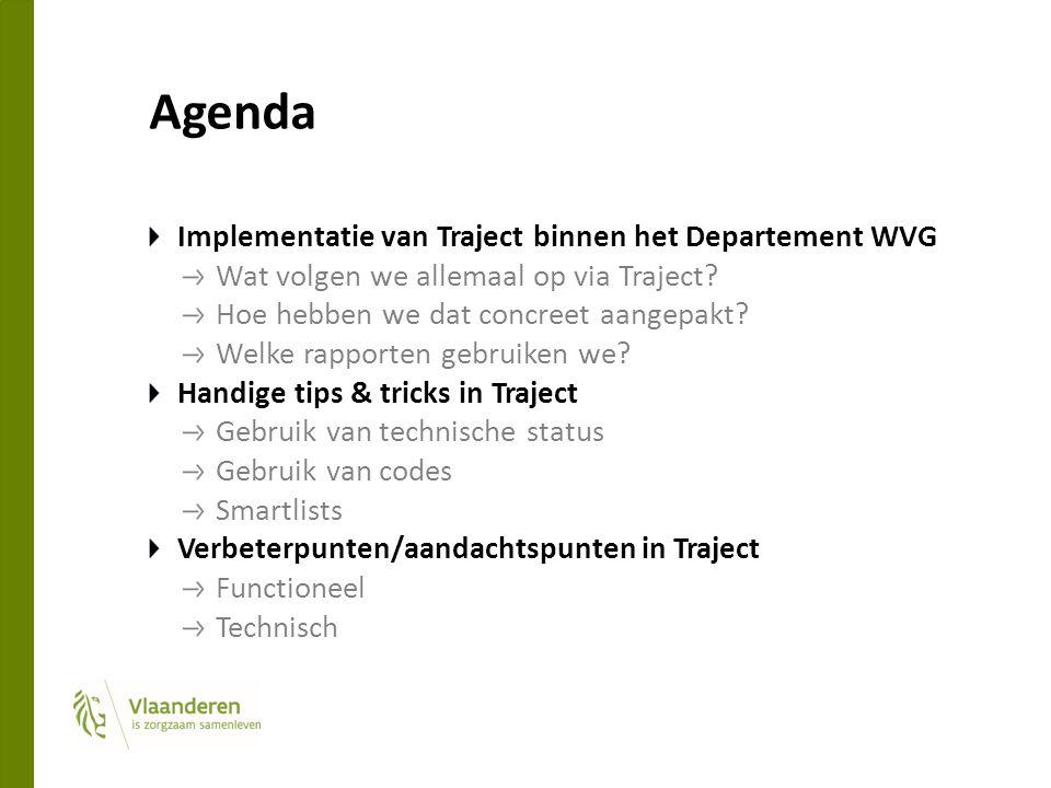Agenda Implementatie van Traject binnen het Departement WVG Wat volgen we allemaal op via Traject? Hoe hebben we dat concreet aangepakt? Welke rapport