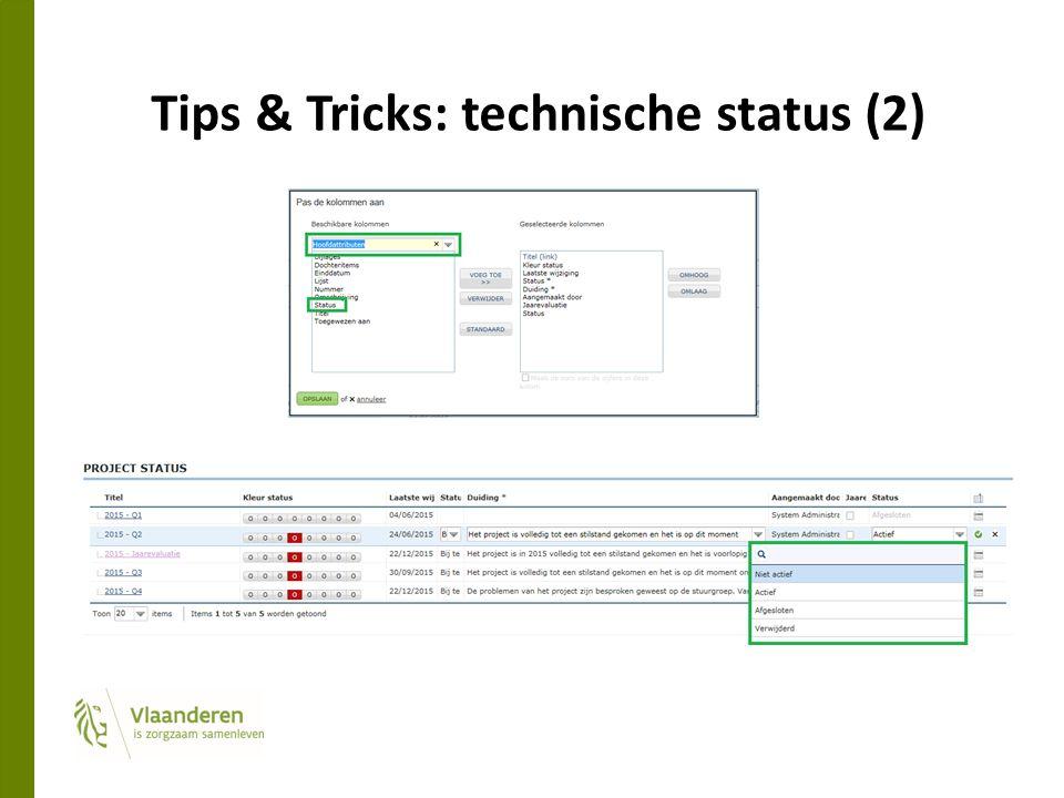 Tips & Tricks: technische status (2)