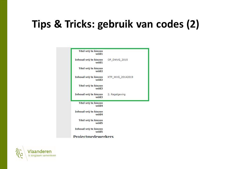 Tips & Tricks: gebruik van codes (2)