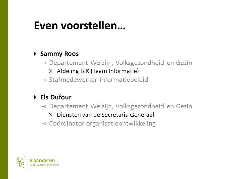 Even voorstellen… Sammy Roos Departement Welzijn, Volksgezondheid en Gezin Afdeling BIK (Team Informatie) Stafmedewerker informatiebeleid Els Dufour Departement Welzijn, Volksgezondheid en Gezin Diensten van de Secretaris-Generaal Coördinator organisatieontwikkeling