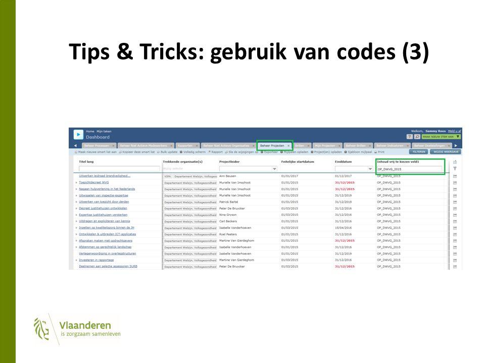 Tips & Tricks: gebruik van codes (3)