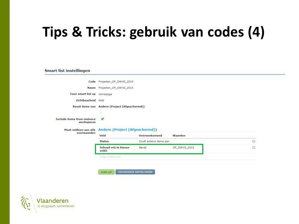 Tips & Tricks: gebruik van codes (4)