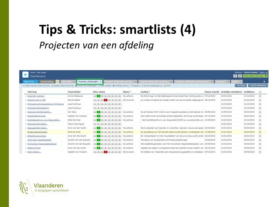 Tips & Tricks: smartlists (4) Projecten van een afdeling