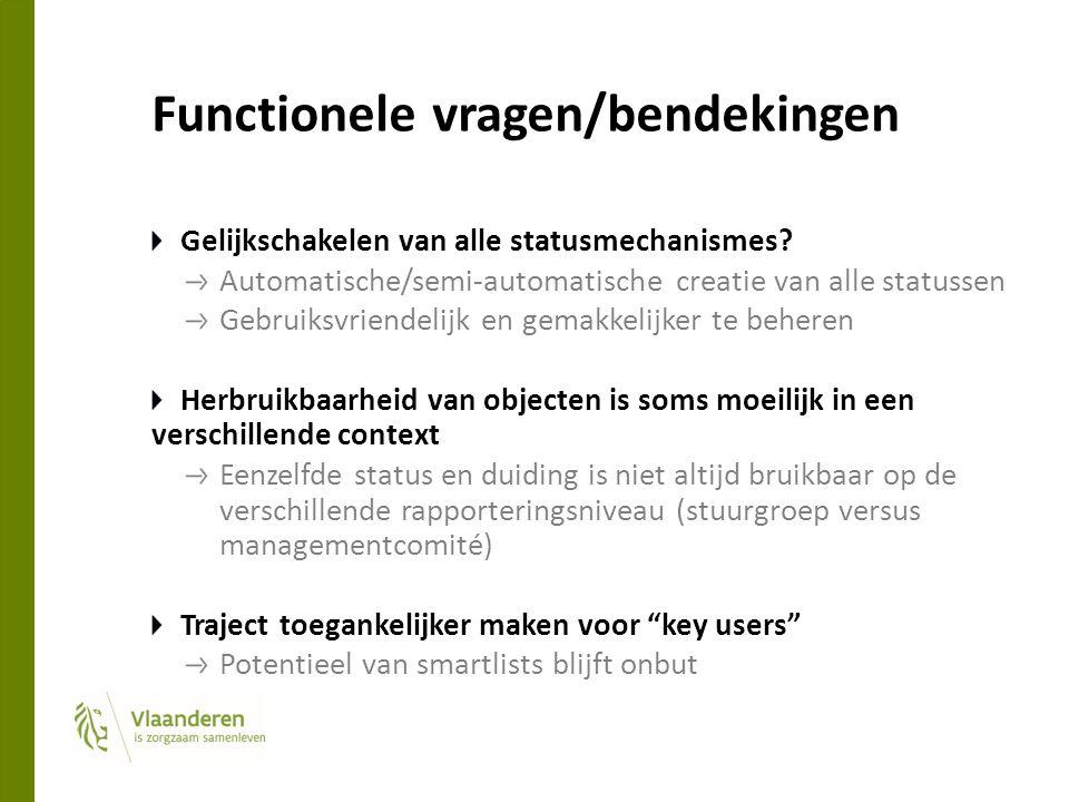 Functionele vragen/bendekingen Gelijkschakelen van alle statusmechanismes? Automatische/semi-automatische creatie van alle statussen Gebruiksvriendeli
