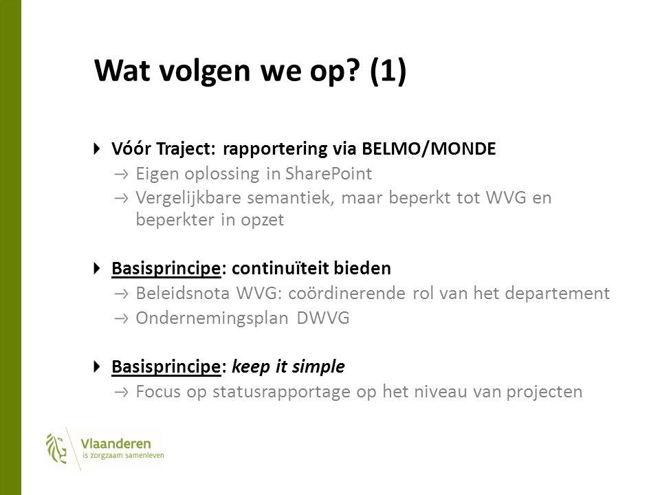 Wat volgen we op? (1) Vóór Traject: rapportering via BELMO/MONDE Eigen oplossing in SharePoint Vergelijkbare semantiek, maar beperkt tot WVG en beperk