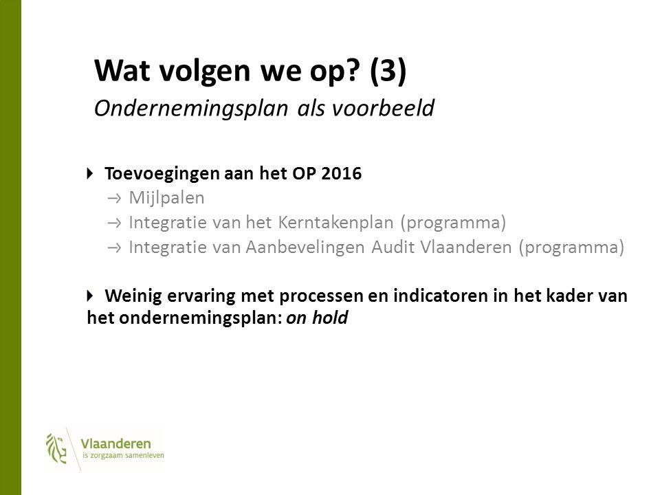 Wat volgen we op? (3) Ondernemingsplan als voorbeeld Toevoegingen aan het OP 2016 Mijlpalen Integratie van het Kerntakenplan (programma) Integratie va