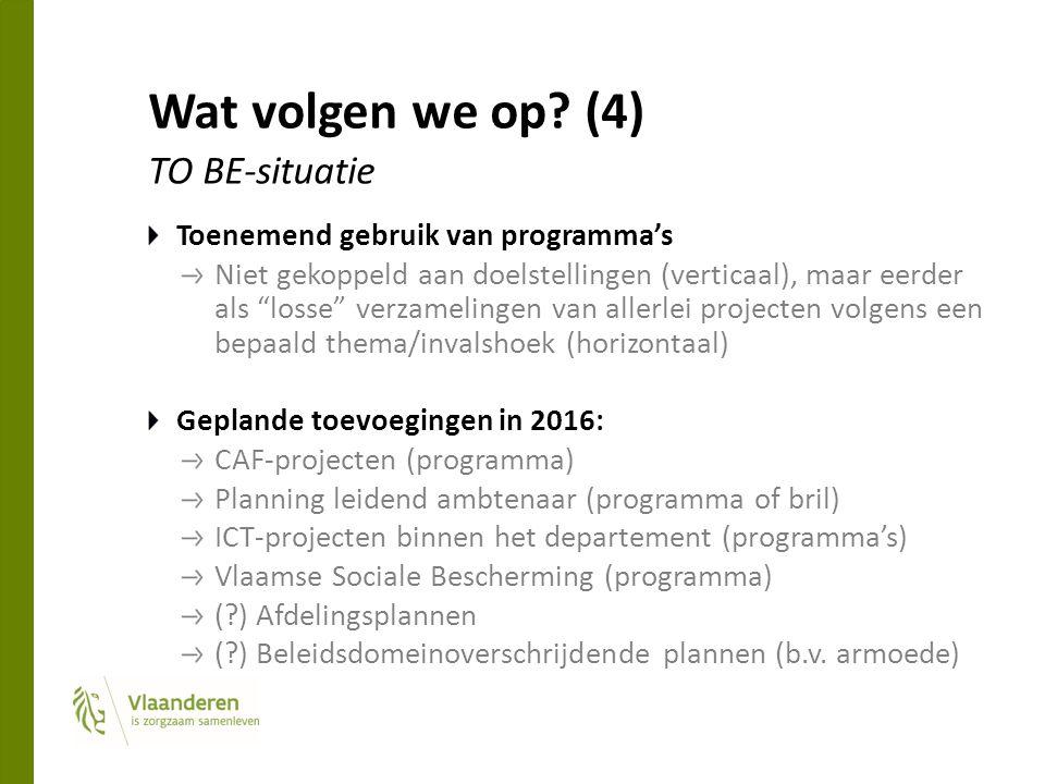 """Wat volgen we op? (4) TO BE-situatie Toenemend gebruik van programma's Niet gekoppeld aan doelstellingen (verticaal), maar eerder als """"losse"""" verzamel"""