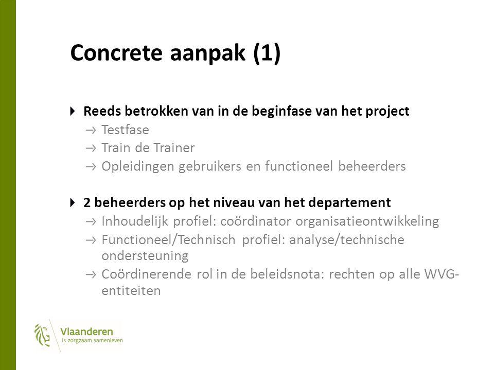 Concrete aanpak (1) Reeds betrokken van in de beginfase van het project Testfase Train de Trainer Opleidingen gebruikers en functioneel beheerders 2 b