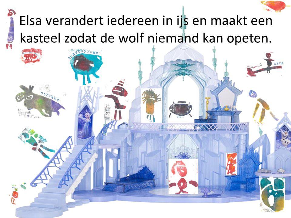 Elsa verandert iedereen in ijs en maakt een kasteel zodat de wolf niemand kan opeten.