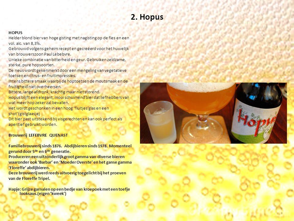 2. Hopus HOPUS Helder blond bier van hoge gisting met nagisting op de fles en een vol.
