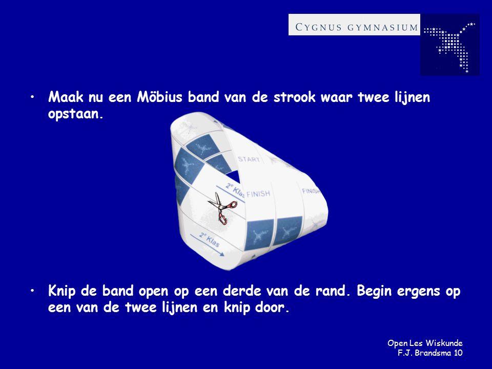 Open Les Wiskunde F.J. Brandsma 10 Maak nu een Möbius band van de strook waar twee lijnen opstaan. Knip de band open op een derde van de rand. Begin e