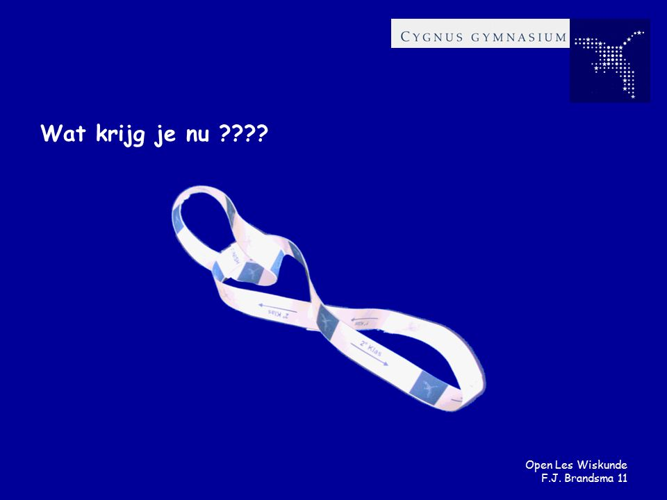 Open Les Wiskunde F.J. Brandsma 11 Wat krijg je nu ????