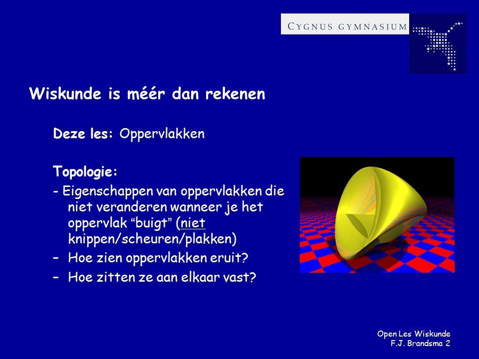 Open Les Wiskunde F.J. Brandsma 2 Wiskunde is méér dan rekenen Deze les: Oppervlakken Topologie: - Eigenschappen van oppervlakken die niet veranderen