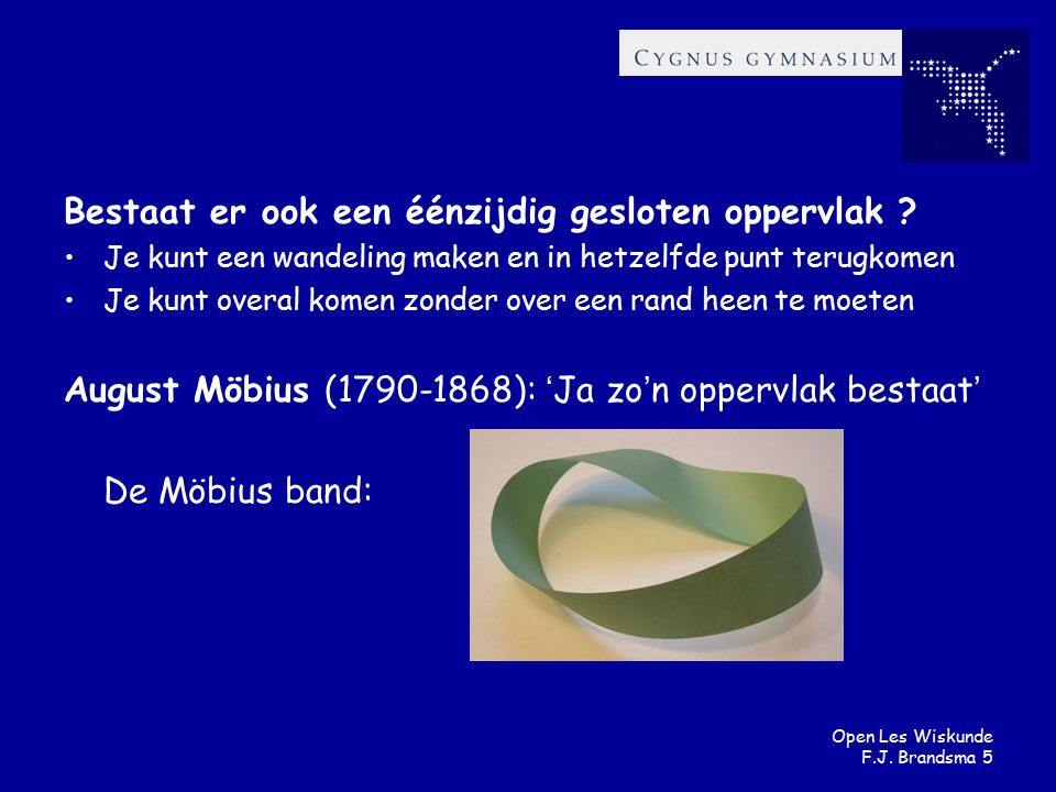 Open Les Wiskunde F.J.Brandsma 6 Hoe maak je een Möbius band .