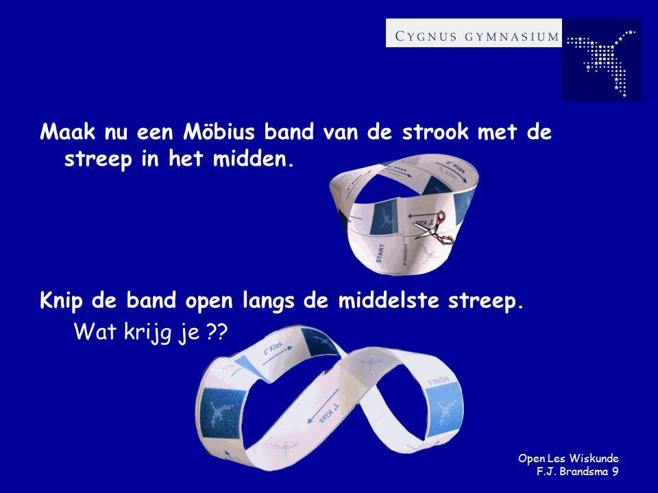 Open Les Wiskunde F.J. Brandsma 9 Maak nu een Möbius band van de strook met de streep in het midden. Knip de band open langs de middelste streep. Wat