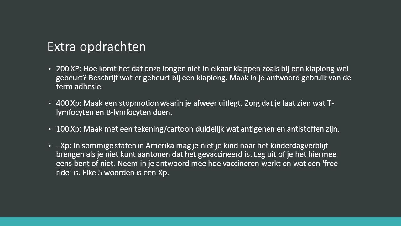 Extra opdrachten 200 XP: Hoe komt het dat onze longen niet in elkaar klappen zoals bij een klaplong wel gebeurt? Beschrijf wat er gebeurt bij een klap
